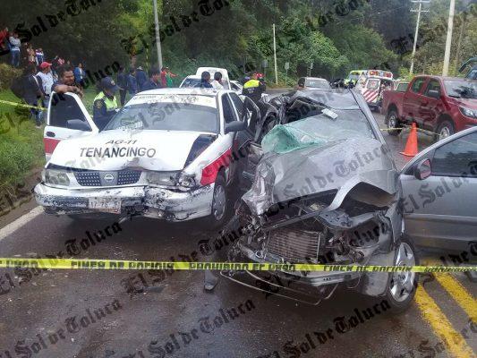 Choque en la Tenango-Tenancingo deja un muerto y diez lesionados