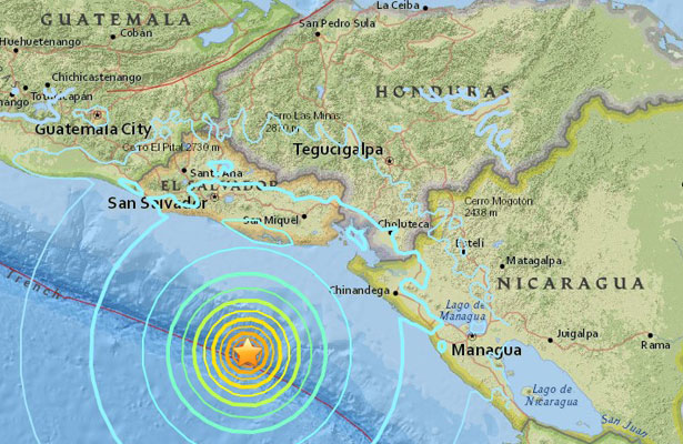 Sismo de 7.0 grados Richter sacude costas de El Salvador