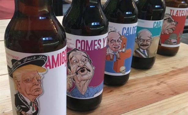 Para tomar las desgracias con humor, venden cerveza con Gortari y Calderón