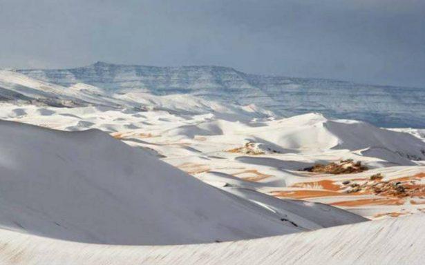Histórico temporal cubre de blanco el desierto del Sahara