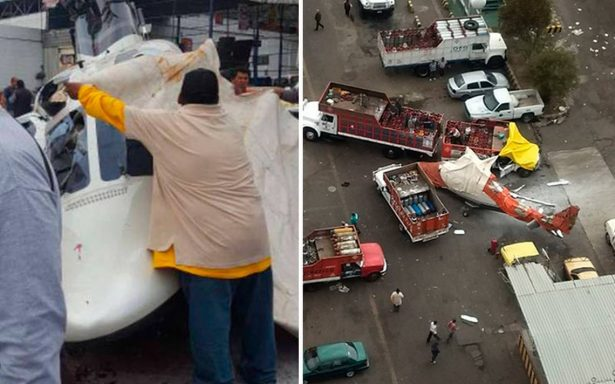 Helicóptero se desploma dentro de gasera en Tlalnepantla; al menos cinco lesionados