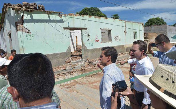 Ha tardado reconstrucción de viviendas tras sismo debido al difícil acceso, asegura Peña Nieto