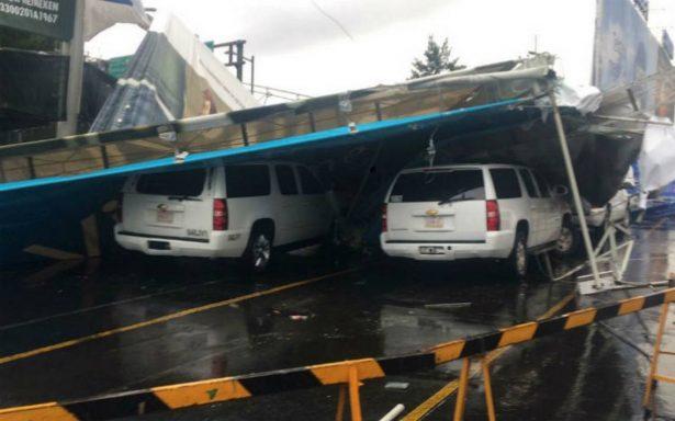 Tormenta tira espectacular en estacionamiento de AICM