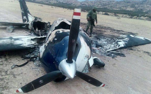 Incendian avioneta desplomada para ocultar que transportaba droga