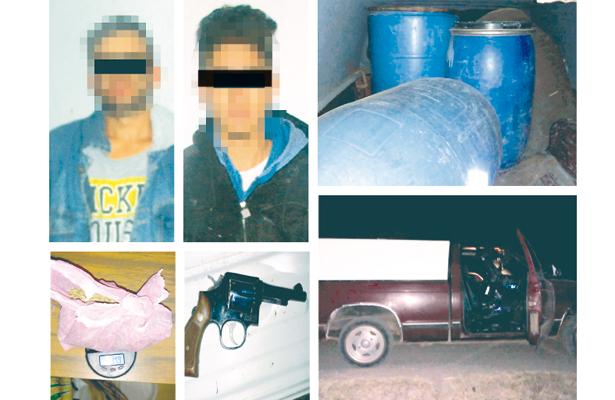 ¡Uff!, traían droga, arma y gasolina: detenidos