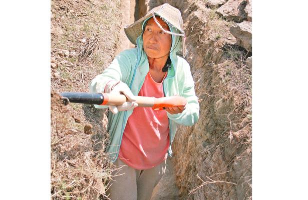 Las mujeres no quedan fuera del trabajo que, inclusive, es considerado pesado: excavaron a mano limpia para no estropear la estructura del acueducto. Foto: Sol de Tulancingo.