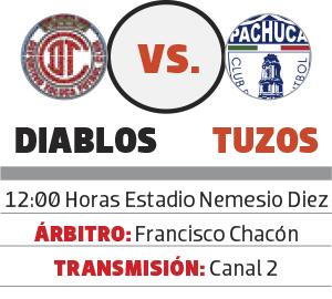 Pachuca visita al Toluca, esta tarde