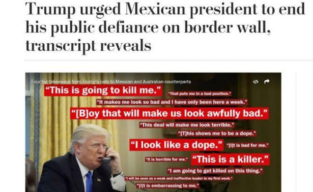 Trump a Peña: Deja de decir que México no pagará el muro