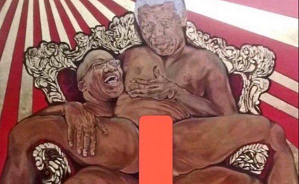 Cuadro en el que sodomizan a Nelson Mandela causa polémica