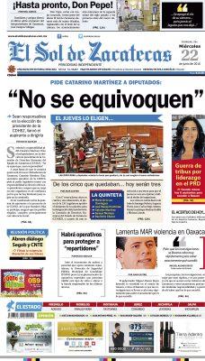 El Sol de Zacatecas 22 de junio