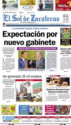 El Sol de Zacatecas 18 de junio