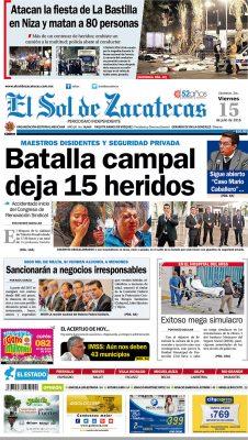 El Sol de Zacatecas 15 de julio