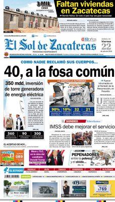 El Sol de Zacatecas 22 de julio