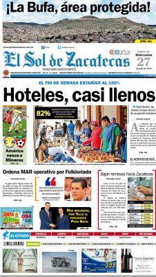 El Sol de Zacatecas 27 de julio