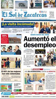 El Sol de Zacatecas 28 de julio