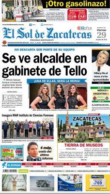 El Sol de Zacatecas 29 de julio