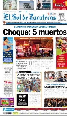 El Sol de Zacatecas 13 de agosto