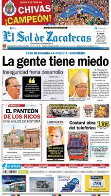 El Sol de Zacatecas 29 de mayo