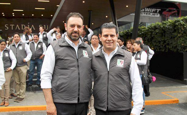 Se encuentran Tello y Miguel Alonso en Asamblea del PRI