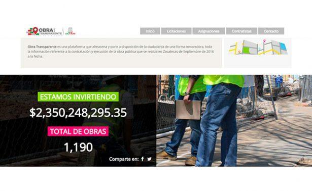 Plataforma transparenta obra pública en Zacatecas