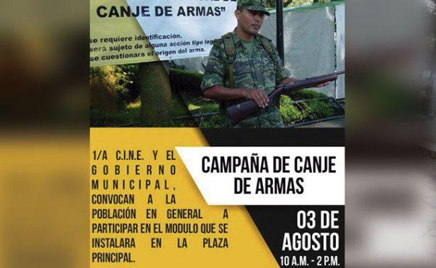 Inicia campaña de canje de armas en Juchipila