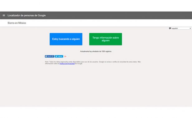 Google activa servicio para localización de personas tras sismo en México