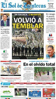 El Sol de Zacatecas 24 de septiembre 2017