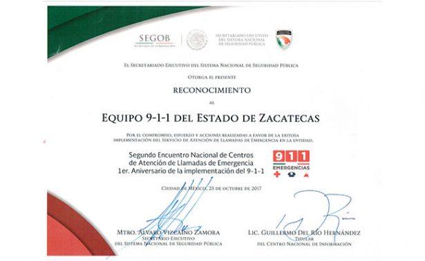Número de emergencias 911 de Zacatecas recibe reconocimiento