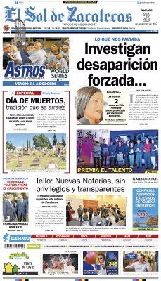 El Sol de Zacatecas 2 de noviembre 2017