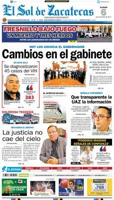 El Sol de Zacatecas 6 de noviembre 2017
