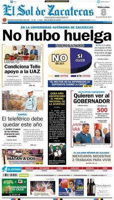 El Sol de Zacatecas 8 de noviembre 2017