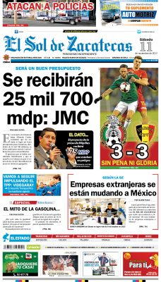 El Sol de Zacatecas 11 de noviembre 2017