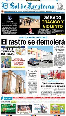 El Sol de Zacatecas 12 de noviembre 2017