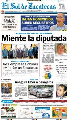 El Sol de Zacatecas 12 de diciembre 2017