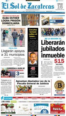 El Sol de Zacatecas 16 de diciembre 2017