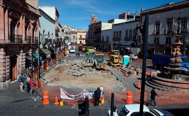 Tomará más tiempo de lo previsto remodelación del centro histórico de Zacatecas