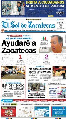 El Sol de Zacatecas 3 de enero 2018