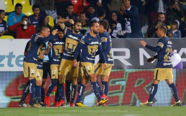 Pumas sigue imparable y vence 2-1 a Morelia en agónico cierre