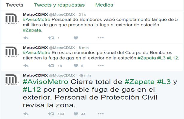 Fuga de gas ocasiona cierre del metro