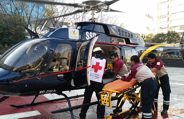 Helicóptero de la SSP-CDMX traslado a un menor al Hospital Infantil de Xochimilco