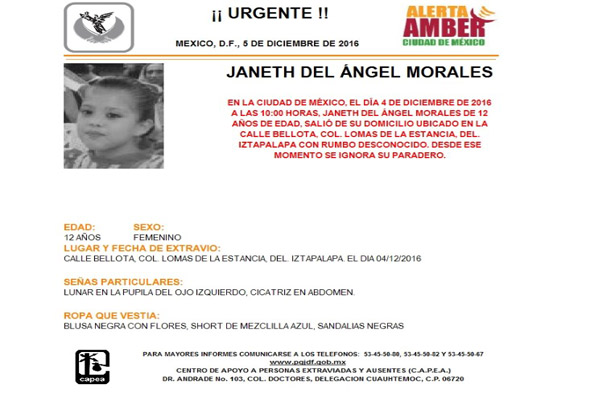 Activan Alerta Amber por menor extraviada en Iztapalapa