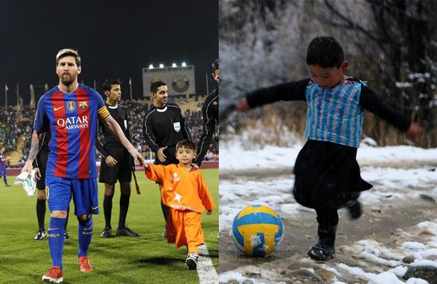 Niño afgano con camiseta plástico, conoce a su ídolo Messi