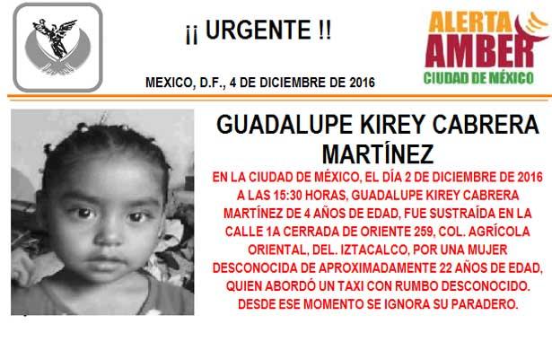 Activan Alerta Amber por niña robada en Iztacalco