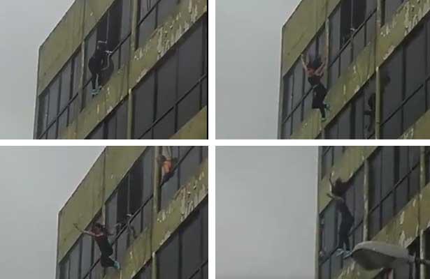 Se lanza del quinto piso y sobrevive, una cámara la capta