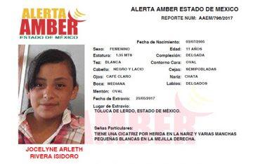 Se activa Alerta Amber para localizar a Jocelyne Arleth Rivera Isidoro, de 11 años de edad