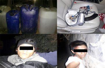Caen 2 hombres por llevar gasolina oculta, en Jalisco