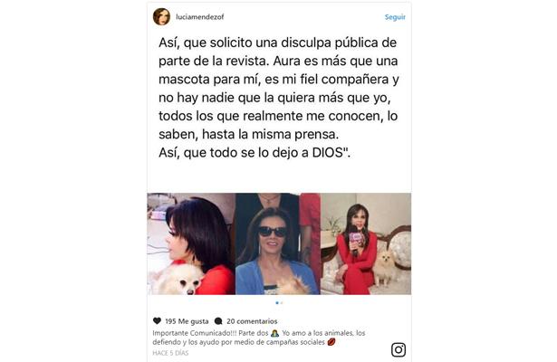 Asegura Lucía Méndez que no maltrató a su mascota.