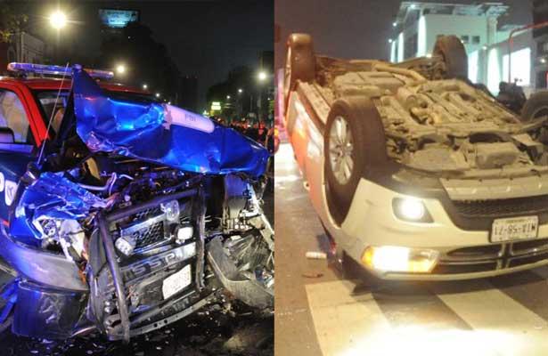 Brutal choque entre patrulla y camioneta en la Doctores