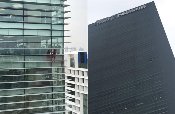 Sin motivo aparente hombre escala edificio, en Polanco