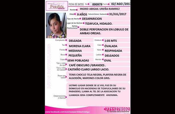 Se solicita apoyo para difusión y localización de Ingrid Abigail Ureña Ramírez de 9 años de edad